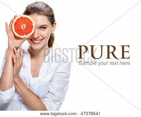 hilarious girl with slice of red orange - isolated on white background