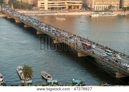 Sunset view of El-Tahrire bridge in Cairo
