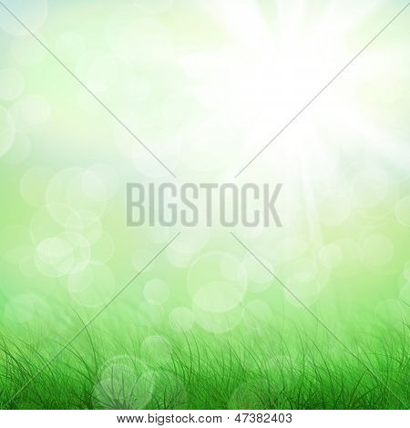 Blue sky, clouds green field grunge background