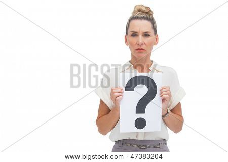 Businesswoman showing question mark at the camera