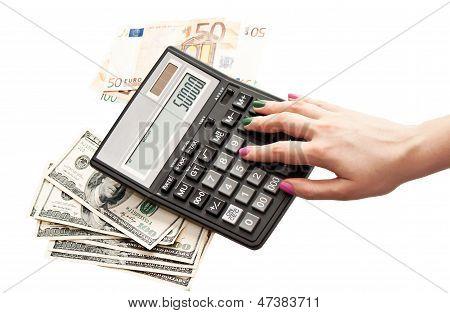 Calculator In Woman's Hands, Money Background