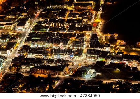 Aerial View of Transportation light trail of Queenstown, New Zealand