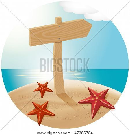 Travel concept. Guidepost at the beach with the sea stars