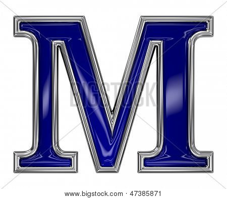 Metal silver and blue alphabet letter symbol - M