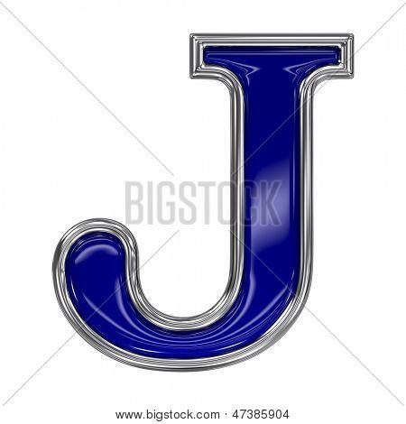 Metal silver and blue alphabet letter symbol - J