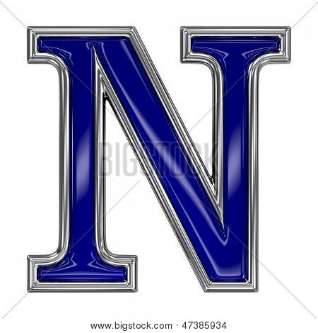 Metal silver and blue alphabet letter symbol - N