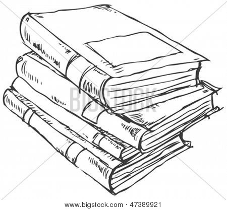 Vector doodle of books stack