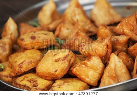 Traditional Indian Dish Samosa On The Open Market