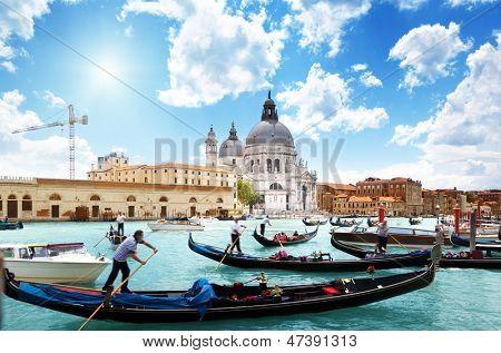 gondolas on Canal and Basilica Santa Maria della Salute, Venice, Italy
