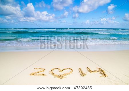 2014 year on the sand beach near the ocean