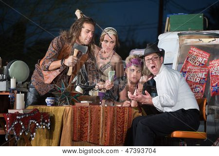 Scared Man With Fortune Tellers
