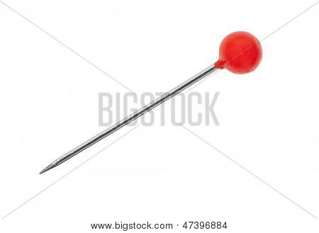 Red pin macro detail with clipping path.