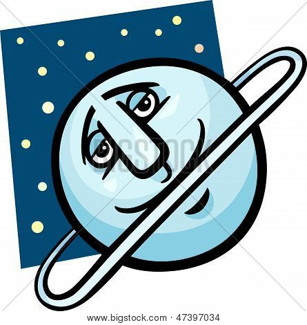 Funny Uranus Planet Cartoon Illustration