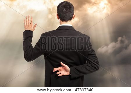 Swearing an oath with fingers crossed behind back