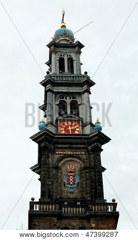AMSTERDAM - CIRCA NOVEMBER 2012: Tower of Westerkerk in Amsterdam in November 2012.