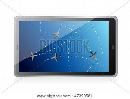 Tablet Fly Tracker Concept Illustration