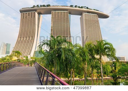Back View On Modern Singapore Hotel Marina Bay Sands