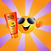 stock photo of sun tan lotion  - an illustration of a sun with sun lotion for tanning - JPG