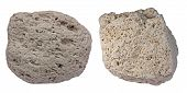 stock photo of volcanic  - Collage of two pumice pebbles showing typical appearance of this light - JPG