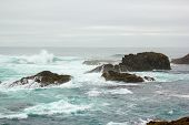 image of mendocino  - Surf over reef at Mendocino Headlands State Park - JPG