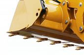 stock photo of bulldozer  - Digger excavator bucket bulldozer shovel industrial detail isolated on white background - JPG