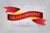image of start over  - grand opening red waving ribbon banner illustration design over white - JPG