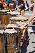 foto of penticton  - Drummers playing at a Saturday market Penticton British Columbia Canada - JPG