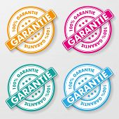 stock photo of 100 percent  - 100 percent guarantee colorful paper labels - JPG