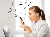 image of shout  - bright picture of woman shouting into smartphone - JPG