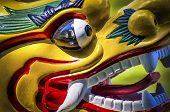 pic of dragon head  - Colored and traditional dragon head from a dragon boat - JPG