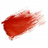 foto of dab  - Red brush stroke isolated on the white background - JPG