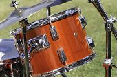 stock photo of drum-kit  - Detail of a drum kit showing Snare Drum and drumsticks - JPG