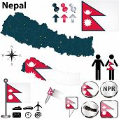 stock photo of nepali  - Vector of Nepal set with detailed country shape with region borders flags and icons - JPG