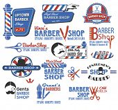 stock photo of bowler hat  - Set of Barber Shop Signs - JPG