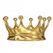 stock photo of crown jewels  - gold crown on white background - JPG