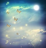 stock photo of moon stars  - Butterflies in a fantasy night landscape with stars and moon - JPG