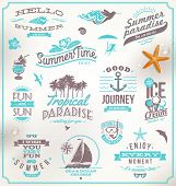 stock photo of starfish  - Vector set of travel and vacation emblems and symbols - JPG