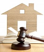 stock photo of court hammer  - Property offered for sale by a court - JPG