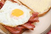 Bacon and fried egg sandwich.