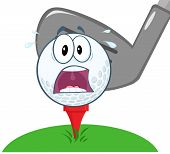 stock photo of stress-ball  - Panic Golf Ball Over Tee Going To Be Hit By Golf Club Cartoon Character - JPG