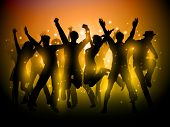 stock photo of youngster  - Silhouette of a group of party people dancing - JPG