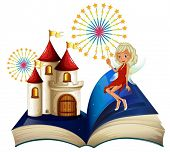picture of storybook  - Illustration of a storybook with a castle and a fairy on a white background - JPG