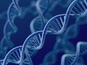 pic of double helix  - 3d render of DNA on blue background - JPG