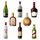 stock photo of champagne color  - 8 shiny alcohol drinks icons - JPG