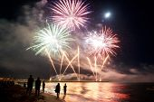 foto of firework display  - Midsummer Night Fireworks By The Sea The Beach Of Forte dei Marmi Italy