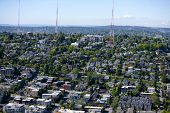 foto of view from space needle  - View of Seattle and radio towers from Space Needle - JPG