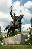 stock photo of hetman  - Monument to Ukrianian Hetman Petro Sagaidachniy in Podol in Kiev - JPG