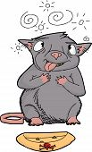 stock photo of dizziness  - Cartoon of cross eyed rat choking on poison - JPG