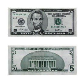 stock photo of one hundred dollar bill  - both sides of the five dollar bill isolated on white with clipping path - JPG