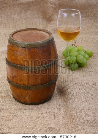 old barrel and wine